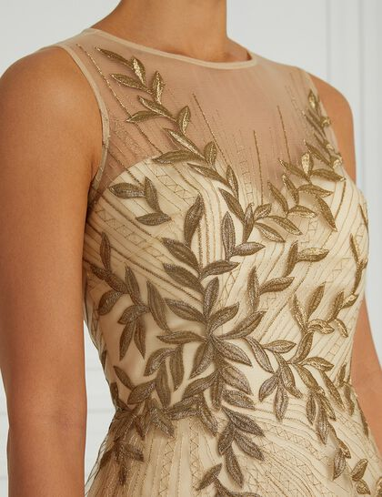 Leaves Embroidered Long Gown