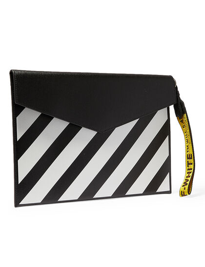 Diag Leather Flat Pouch Black White