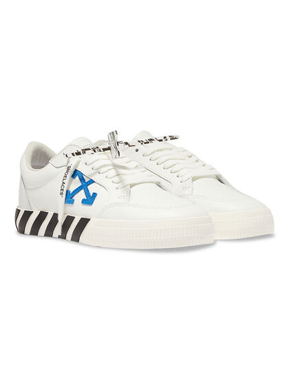 Low Vulcanized Calf Leather White Blue