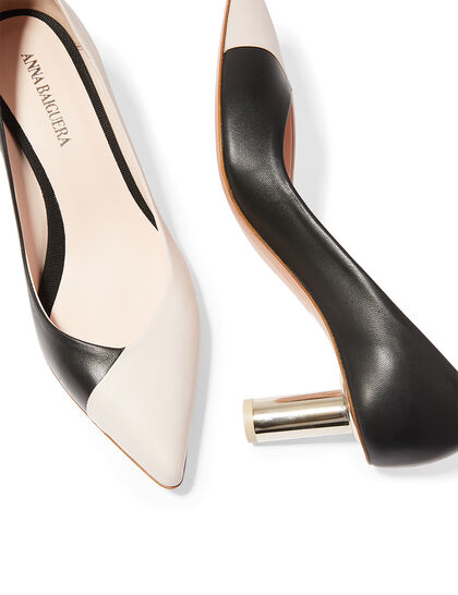 Annavy 22904 - Natur Black /Kiss Pointed Pump On Cylindrical Laminate Heel