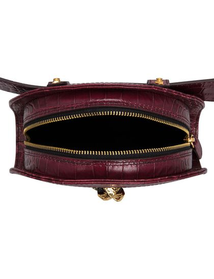 The Lucky Belt Bag Black Croco Gold