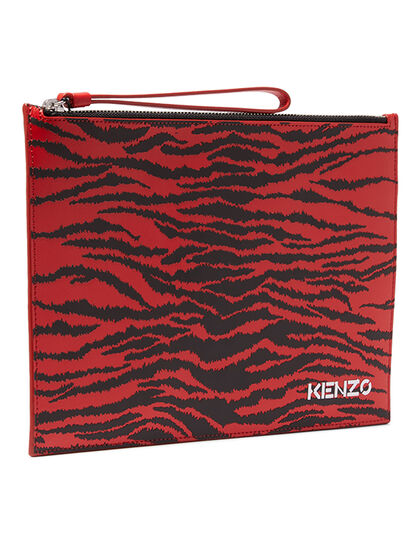 Printed Leather Large Pouch