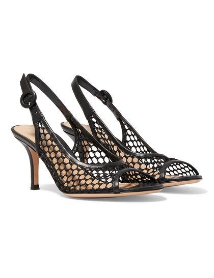 Fishnet Slingback Sandals