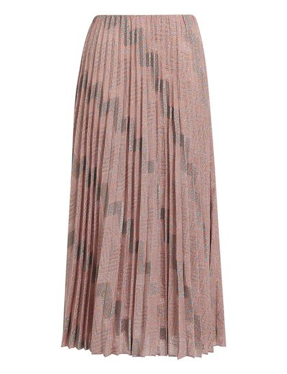 Classic Lurex Zigzag Pleated Skirt