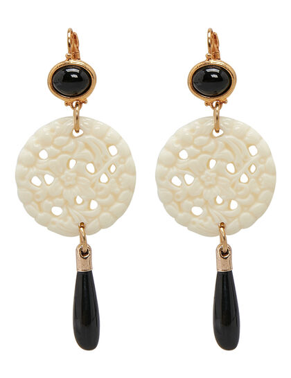 Kjy Small Gold Black Top/Crvd Ivory/Black Drop Wire Ear