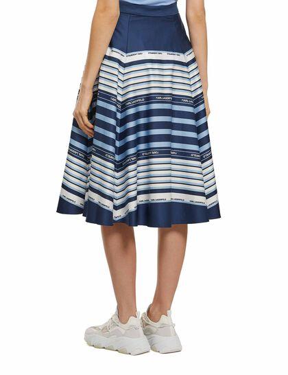 Umbrella Print Striped Skirt