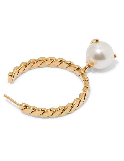 Hoop Pearl-Drop Earrings