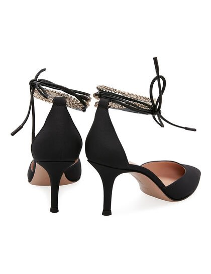 Ankle Chain Satin Sandals - Black