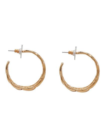 Kjy 1 1/4 Polished Gold Link Hoop Post Earring
