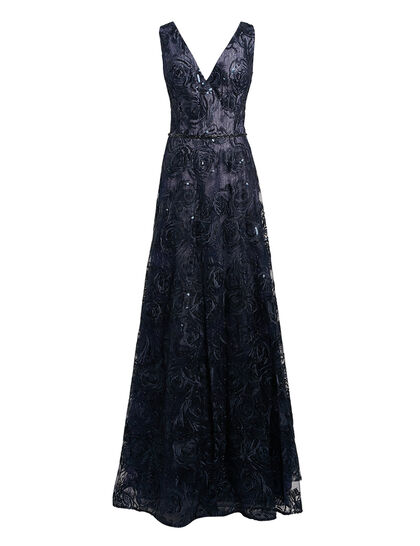 Sleeveless Shimmered Lace Gown