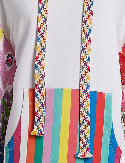 Cotton Rainbow Floral Print Hoodie