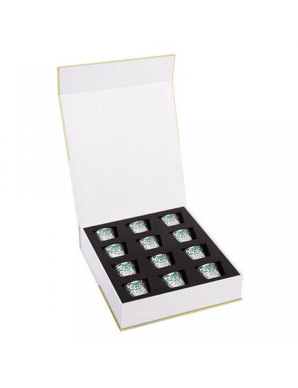 Gift Box Of 12 Mirrors Arabic Coffee Cups - Emerald