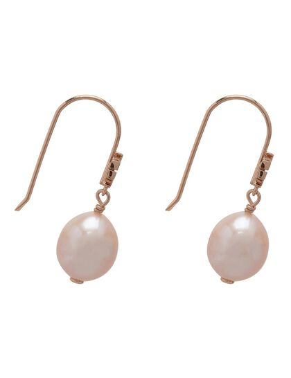 Logo Pearl Drop Hook Earrings