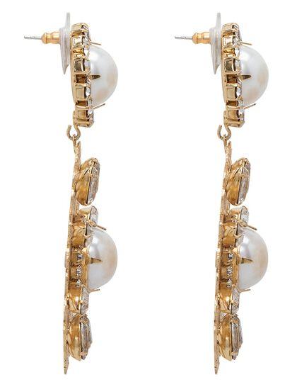 Kjy 3 Antique Gold/Crystal Filigree Flower W/ White Pearl Center Pierced Earring