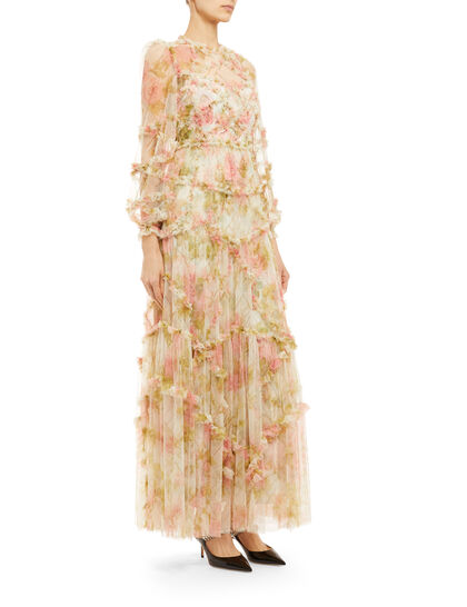 Harlequin Rose Ruffle Gown