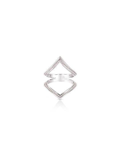 Gfa Marsa Gafla Marsa Gafla Double Ring. White Gold. Diamonds