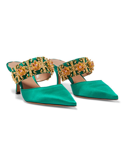 Satin Pointed Toe Mules