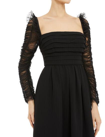 Mesh Sleeved Midi Dress