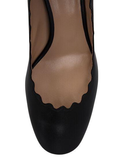 Lauren Scalloped Block Heels Pumps