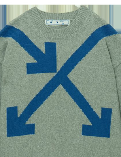 Twisted Arrows Knit Crewneck Paloma Blue