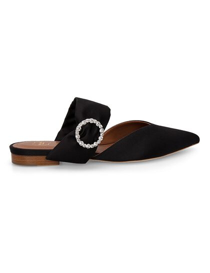 Maite Crystal Buckle Satin Flat Mules - Black