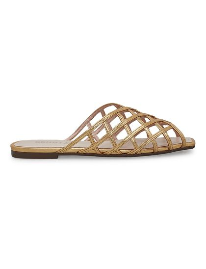 Trama Metallic Caged Flat Sandals