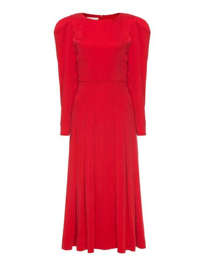 Vibrant Pleated Midi Dress
