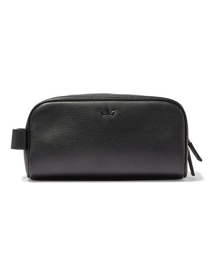 Award Wash Bag – Italian Leather Black